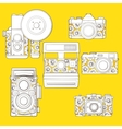 Vintage photo cameras set with floral pattern vector | Price: 3 Credits (USD $3)