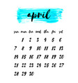 watercolor ink calendar template 2019 year april vector image