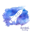 white rocket icon on watercolor background vector image vector image