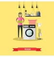 Woman wash clothes in washing machine vector image vector image