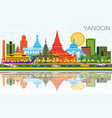 yangon myanmar city skyline with color buildings vector image vector image