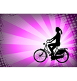 female bicyclist on the abstract background vector image