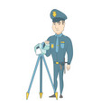 policeman with radar for traffic speed control vector image