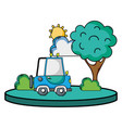 agrimotor car in the city with tree and sun vector image vector image