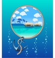 Anchor and tropical island vector image vector image