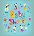 baby shower card with cute panda bears vector image vector image