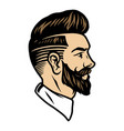 bearded man with trendy hairstyle concept vector image vector image