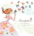 beautiful girl with butterfly watercolor painting vector image