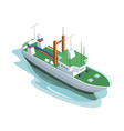 big green and white ship in ocean vector image