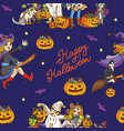 blue seamless pattern with cartoon halloween vector image vector image