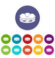 bun and sausage icons set flat vector image