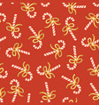 candy cane seamless pattern gold foil red vector image vector image