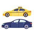 cars isolated on white background taxi and sedan vector image