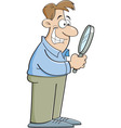 Cartoon man looking through a magnifying glass vector image vector image