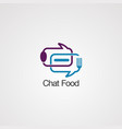 chat bubble food logo icon element and template vector image vector image