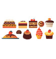chocolate birthday cake and cupcakes sweets and vector image