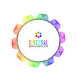 circular badge on spectral colorful spirograph vector image