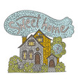country doodle detailed cottage with hand drawn vector image