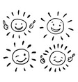 creative collection four sun drawings in vector image vector image
