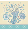 Cute greeting card with hand-drawn flowers vector image vector image