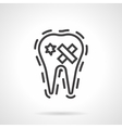 Damaged tooth simple line icon vector image