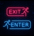exit and enter neon signs vector image vector image