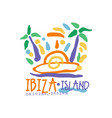 exotic summer vacation colorful logo with ibiza vector image vector image