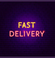 fast delivery neon text vector image vector image