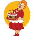 Fat cartoon woman with cake
