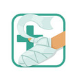 first aid and treatment burns human s hand vector image vector image