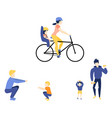 flat mother girl father son doing exercise vector image