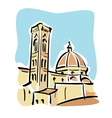 Florence The Duomo and Giottos bell tower vector image