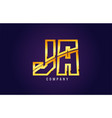 gold golden alphabet letter ja j a logo vector image