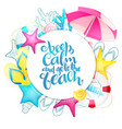 hand lettering summer phrase on round paper vector image vector image
