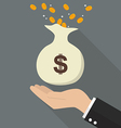 hand with money bag vector image vector image