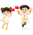 happy boy and girl holding flag of china vector image vector image