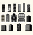 icons of urban black and white modern buildings vector image