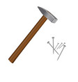 image of hammer and nails vector image