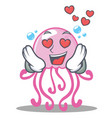 in love cute jellyfish character cartoon vector image