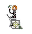 indian businessman sitting on bank safe vector image