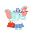 lovely elephant girl standing with bag cute vector image vector image