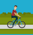 man with bicycle in the landscape vector image