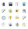 measure precision icons set in flat style vector image vector image