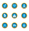 medieval takeover icons set flat style vector image vector image
