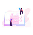 men with tablet app for smart house technology vector image vector image