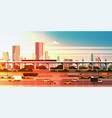 modern city over sunset background cityscape vector image vector image
