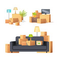 move in new apartment carton boxes set vector image