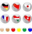 national heart flags icon shiny button vector vector image