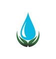 natural water leaves abstract hand logo icon vector image vector image