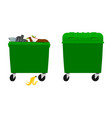 overflowing and empty garbage bin container vector image vector image